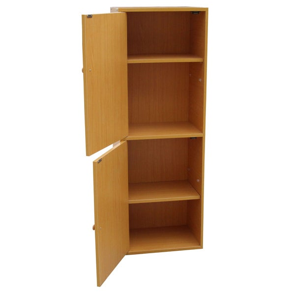 4-Tier Adjustable Bookshelf with Door