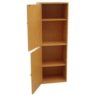 4-Tier Adjustable Bookshelf with Door
