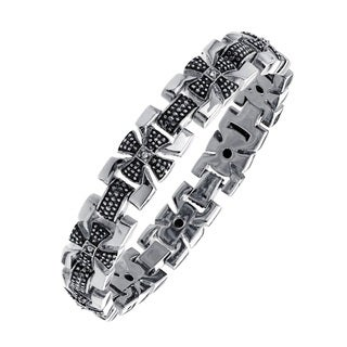 Black-plated Stainless Steel Men's Cubic Zirconia Cross Link Bracelet