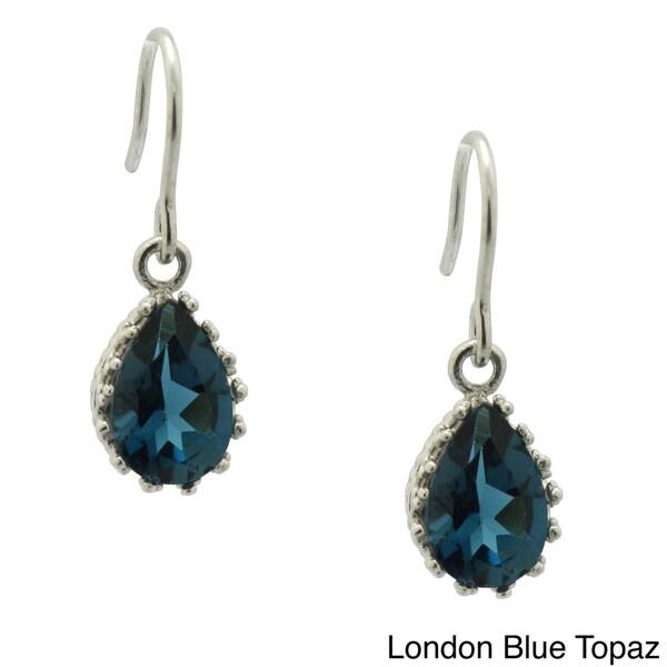 Gioelli Sterling Silver Pear-cut Gemstone Crown Earrings 10876153