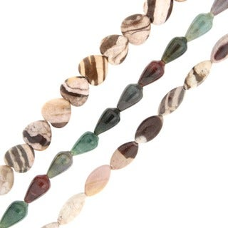 Pearlz Ocean Zebra and Fancy Jasper Loose Bead Strands (Set of 3)