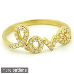 Plutus Gold over Silver Cubic Zirconia 'Love' Ring