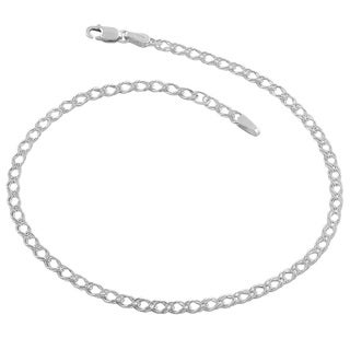 Fremada Sterling Silver 2.9-mm Double Open Curb Link Anklet (10 inches)