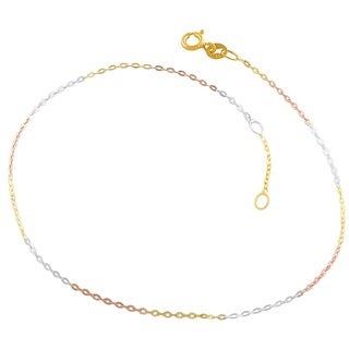 Fremada Tri-color Silver 1.2-mm Flat Cable Link Anklet (10 inches)
