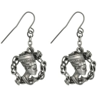 CGC Pewter Rhinestone Egyptian Nefertiti Earrings