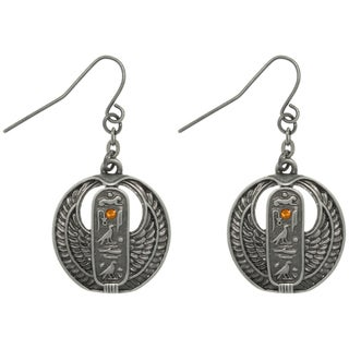 CGC Pewter Rhinestone Egyptian Cartouche Earrings