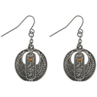 Carolina Glamour Collection Pewter Rhinestone Egyptian Cartouche Earrings
