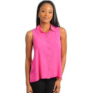 Stanzino Women's Fuchsia Sleeveless Laced Back Button-down Top