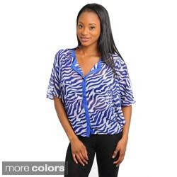 Stanzino Women's Zebra Print Dolman Sleeve Chiffon Top