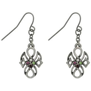 CGC Pewter Rhinestone Tribal Knot Earrings