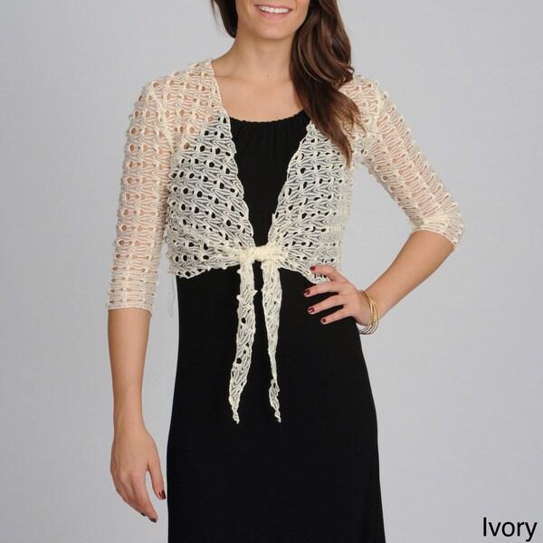 Lennie for Nina Leonard Women's Crocheted Tie Front Shrug