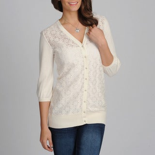 Amanda Charles Women's Ivory Lace Novelty Sweater