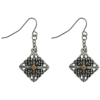 CGC Pewter Rhinestone Celtic Square Knot Earrings