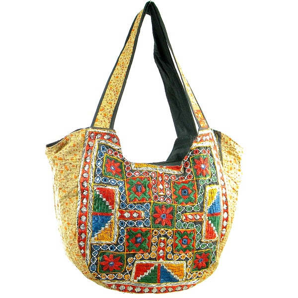Handmade Embroidered Vintage-Material Banjara Hobo Shoulder Bag (India)