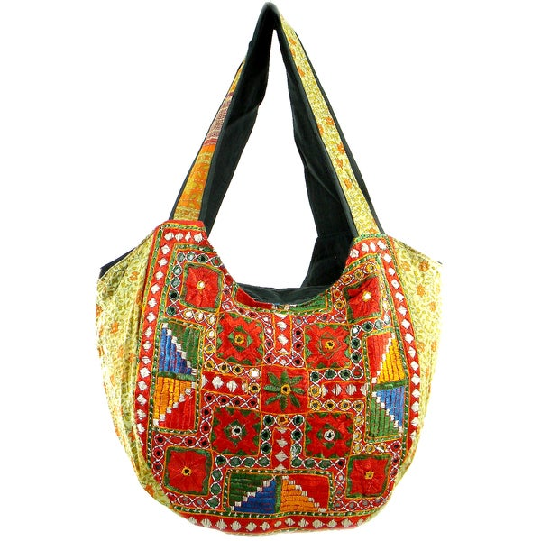 Handmade Embroidered Vintage Banjara Hobo Bag (India)