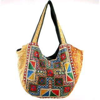 Handmade Embroidered Vintage-Material Banjara Lined Hobo Bag (India)
