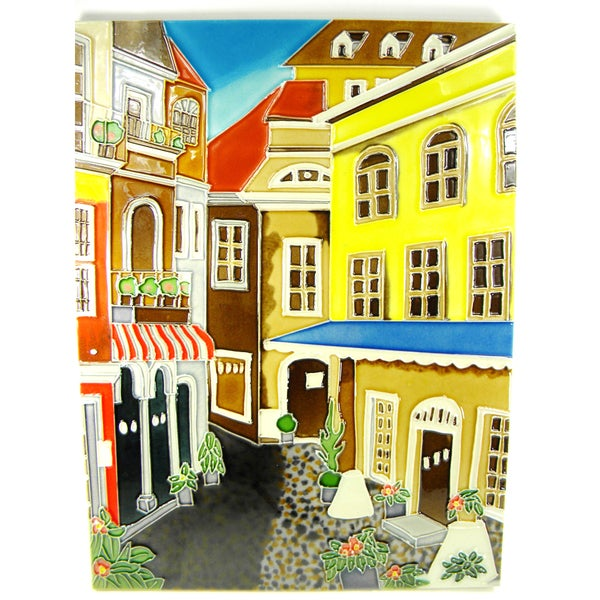 Hand Crafted 'A Day In Europe' Art Tile