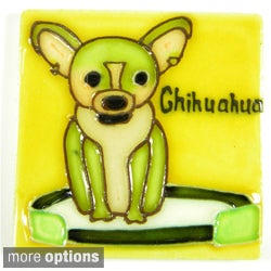 Hand Crafted 'Lovable Dogs' Art Tile Magnet