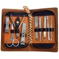 Gold Brown Zippered Case 9-piece Manicure Set