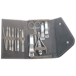 Grey and Brown Case 10-piece Manicure Set