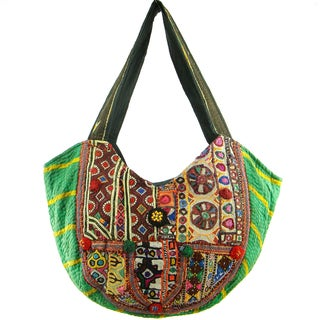 Cotton Embroidered Vintage Banjara Hobo Bag (India)