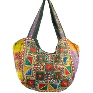 Floss Stiched Indian Vintage Banjara Hobo Bag (India)