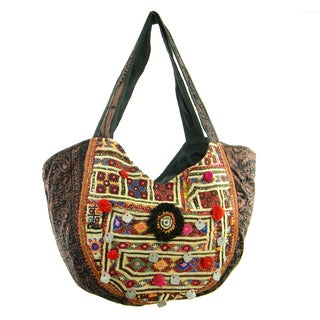 Cotton Stiched Embroidery Banjara Hobo Bag (India)