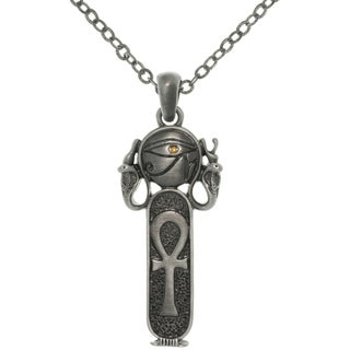 CGC Pewter Rhinestone Egyptian Ankh Necklace