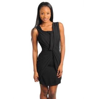 Stanzino Women's Sleeveless Twist Wrap Little Black Dress