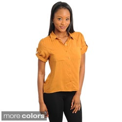 Stanzino Women's Short Sleeve Button-down Shirt