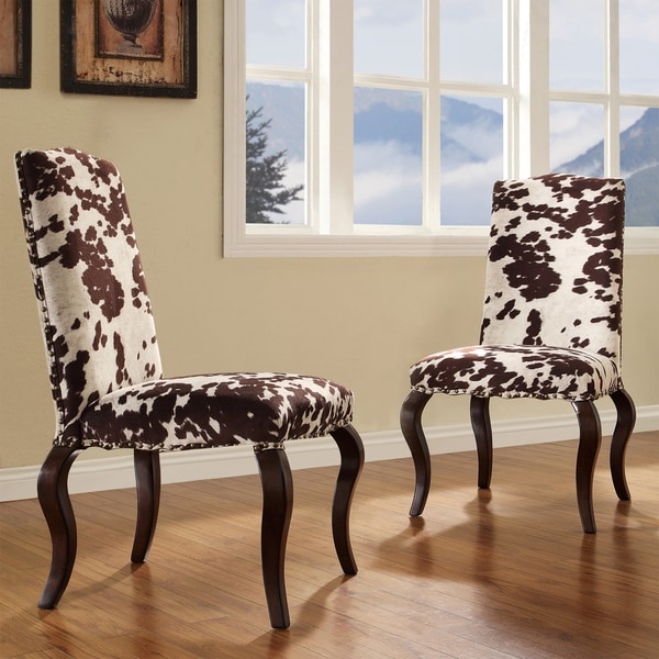 lorell brown cow hide nailhead upholstered traditional dining chair