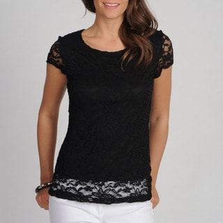 Annalee + Hope Women's Black Allover Lace Tee