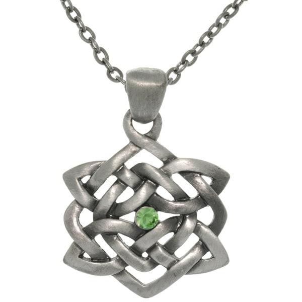 Pewter Rhinestone Celtic Illusion Necklace 10879469