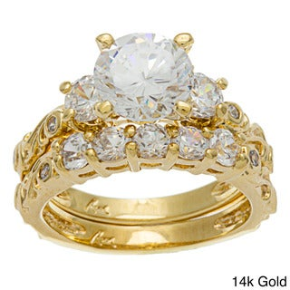 Roberto Martinez Gold over Silver Cubic Zirconia Bridal-style Ring Set