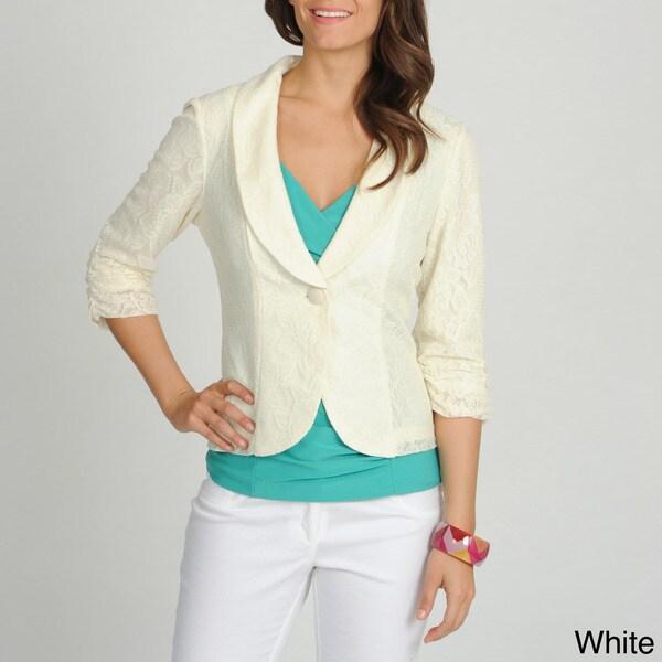 Annalee + Hope Women's Allover Lace Single Button Blazer