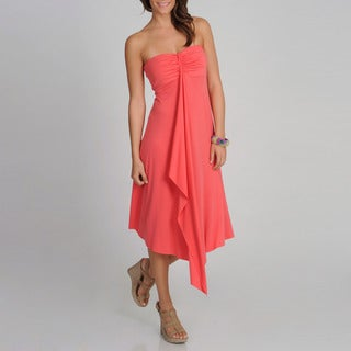 Annalee + Hope Women&#39;s Coral Strapless Cascading Ruffle Dress