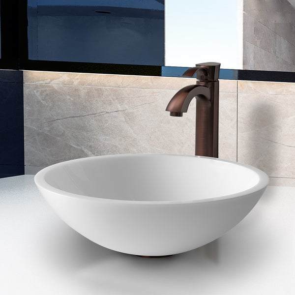 VIGO Flat Edged White Phoenix Stone Glass Vessel Sink with Oil Rubbed Bronze Faucet 10879624