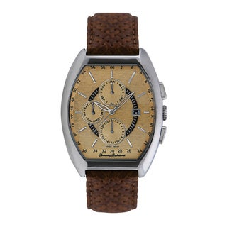 Tommy Bahama Men's Brown Woven Leather Strap Stainless Steel Watch