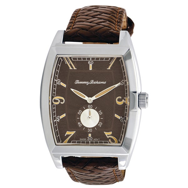 Tommy Bahama Men's Brown Woven Leather Strap Watch