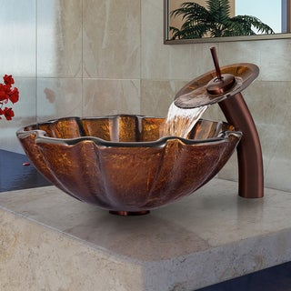VIGO Walnut Shell Glass Vessel Sink and Oil Rubbed Bronze Waterfall Faucet