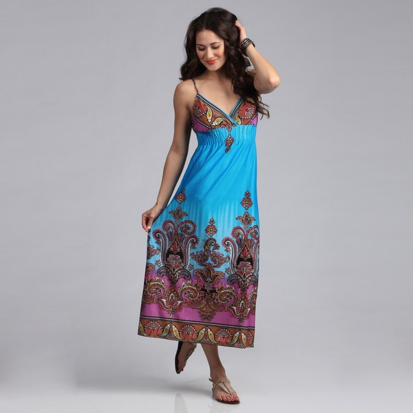 She's Cool Turquiose Paisley Border ITY Maxi Dress