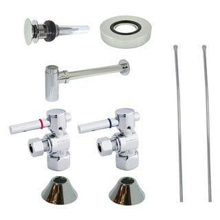 Solid-Brass Decorative Vessel Sink Chrome Plumbing Supply Kit with Overflow Hole