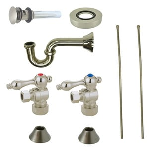 Decorative Vessel Sink Satin Nickel Plumbing Supply Kit with Overflow Hole