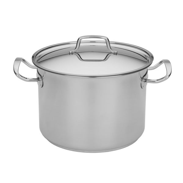 MIU Silver 8-quart Stock Pot with Tri-Ply Stainless Steel/ Aluminum Base