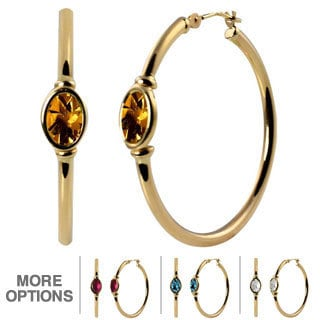10k Yellow Gold Oval-cut Gemstone Hoop Earrings