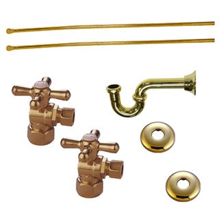 Decorative Polished Brass Plumbing Supply Kit (Drain, Shut-off Valves and Supply Lines)