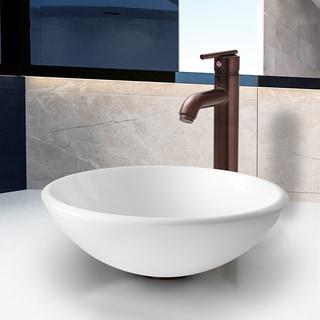 Vigo White Phoenix Stone Glass Vessel Sink with Oil Rubbed Bronze Faucet