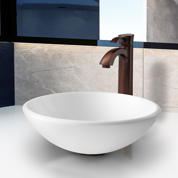 VIGO White Phoenix Stone Glass Vessel Sink and Oil Rubbed Bronze Faucet 10879926