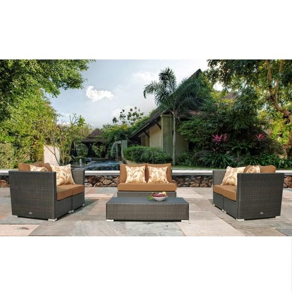 Corvus Batavia 6-piece Patio Sectional Set with Sunbrella Fabric Cushions