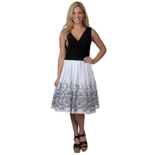 Jessica Howard Women's Cap Sleeve Surplus Bodice Rouched Waist Pleated Skirt Dress